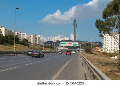 Uskudar, Istanbul - November 24, 2019 : Istanbul Highway. The road to the Bosphorus Bridge and the new Camlica Tower. TURKEY