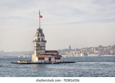 Uskudar, ISTANBUL, TURKEY - January 31, 2016: Maidens Tower (Kiz Kulesi) at Bosphorus, Istanbul. One of the symbols of Istanbul