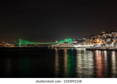 Uskudar Square and Bosphorus Bridge Night Long Exposure Istanbul, Turkey