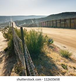 US/Mexico border fence near Campo, California, USA