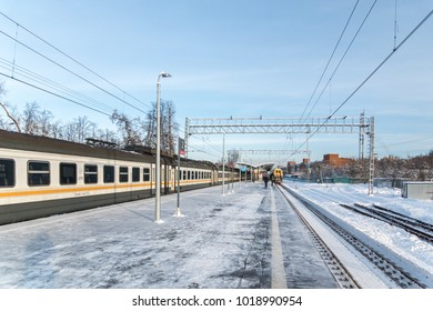 USOVO, MOSCOW REGION, RUSSIA - 01 february 2018: Classic Russian suburban train model ED4M stands at the railway station Usovo