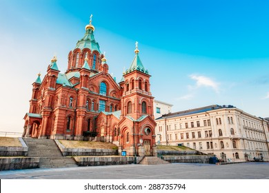 Uspenski Cathedral, Helsinki On Hill At Summer Sunny Day. Red Church - Tourist destination In Finnish Capital, Finland.