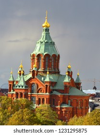 Uspensky Cathedral in Helsinki. Built 1868. Autumn