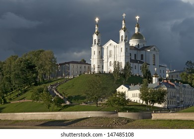 Uspensky Cathedral in Vitebsk, Belarus with stormy sky as the background
