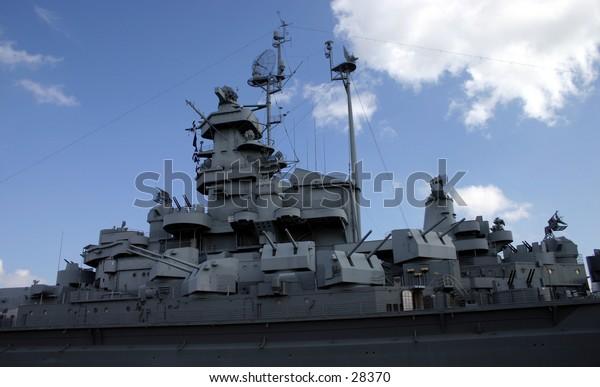 USS Alabama in dry dock.
