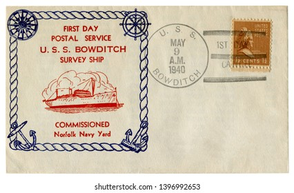 U.S.S. Bowditch, The USA  - 9 May 1940: US historical envelope: cover with cachet first day postal service survey ship, commissioned  Norfolk Navy Yard, postage stamp  Martha Washington, half a cent,