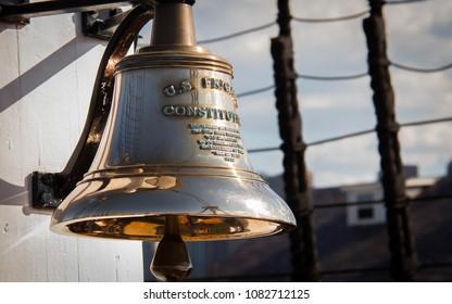USS Constitution Brass Ship Bell - Boston Waterfront Walk - Massachusetts