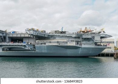 USS Midway Museum, historical naval aircraft carrier museum in downtown San Diego, California at Navy Pier. Aircraft carrier Midway. The ship houses an extensive collection of aircraft. 03/22/2019