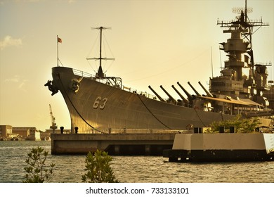 USS Missouri Docked at Ford Island in Pearl Harbor During Sunset
