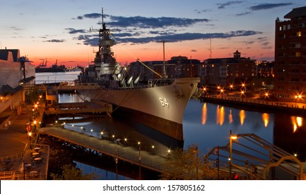 USS Wisconsin Battleship (BB-64) in Norfolk, Virginia, sunset
