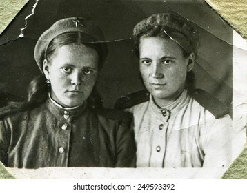 USSR - 1945: An antique studio photo of two women officer, 1945, USSR