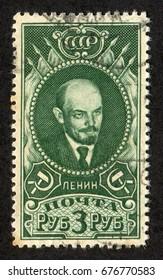 USSR - CIRCA 1926: A stamp printed in Russia (Soviet Union), shows Vladimir Lenin (Ulyanov) portrait in green, circa 1926