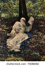 USSR - CIRCA 1931: Postcard printed in the USSR shows paint by Ilya Repin - Tolstoy, with a book, 1891, State Tretyakov Gallery, circa 1931