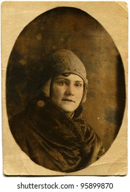 USSR - CIRCA 1932: Studio portrait of middle-aged woman in a fur coat and hat, circa 1932