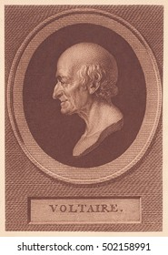USSR - CIRCA 1939: stamp printed by old phototype USSR,shows portrait Francois Marie Arouet Voltaire-French enlightenment philosopher,circa 1939