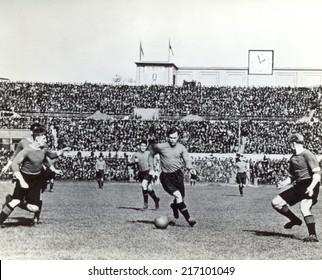 USSR - CIRCA 1939: Vintage photo shows soccer team, 1939
