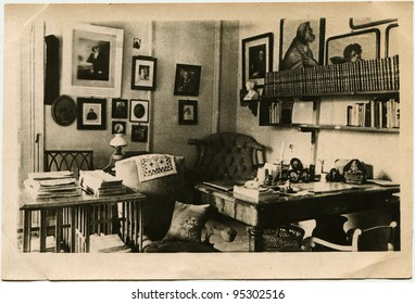 USSR - CIRCA 1940: Postcard printed in the USSR shows Cabinet of Leo Tolstoy in Yasnaya Polyana, circa 1940