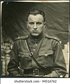 USSR - CIRCA 1943: Photo taken in the USSR, the portrait of an officer of the Red Army, circa 1943