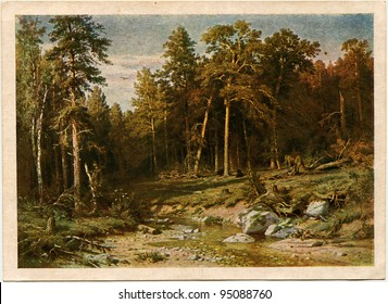 USSR - CIRCA 1944: Postcard printed in the USSR shows paint by Ivan Shishkin - Pine Forest, 1872, State Tretyakov Gallery, circa 1944