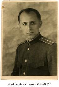 USSR - CIRCA 1945: Portrait of the Soviet army lieutenant, circa the summer 1945