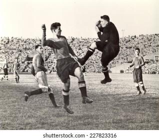 USSR - CIRCA 1948: Vintage photo shows soccer team, 1948