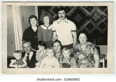 USSR - CIRCA 1950: An antique photo shows family portrait