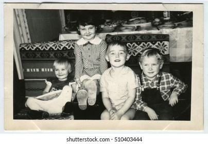 USSR - CIRCA 1950: An antique photo shows Four smiling child