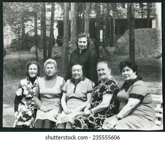 Ussr - CIRCA 1950s: An antique Black & White photo show Family holidays in nature
