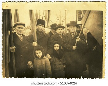 Ussr - CIRCA 1950s: An antique Black & White photo show People at the demonstration