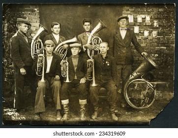 USSR - CIRCA 1950s: An antique photo shows brass band, circa 1950s