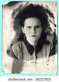 USSR - CIRCA 1950s: Vintage photo shows portrait of a woman, 1950s