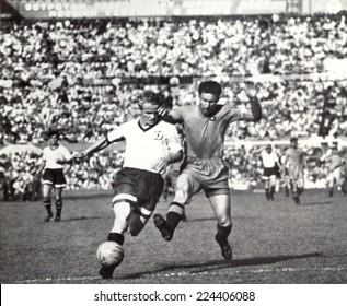 USSR - CIRCA 1951: Vintage photo shows soccer team, 1951