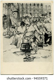 USSR  - CIRCA 1957: Postcard printed in the USSR shows draw by Jules de Brecker - Old Town Square, Bruges, 1913, Etching, from Exhibition of The Belgian art, circa 1957