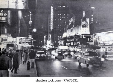 """USSR - CIRCA 1957: Soviet magazine """"Ogoniok"""" shows old photo of Broadway in New York made by U. Gukov, publishing house """"Pravda"""", issue 3, circa 1957 in Moscow, USSR"""