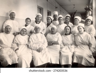 USSR - CIRCA 1958: Vintage photo shows ophtalmology hospital personnel group.