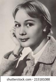 USSR - CIRCA 1959: studio Portrait of a beautiful yung woman, circa 1959
