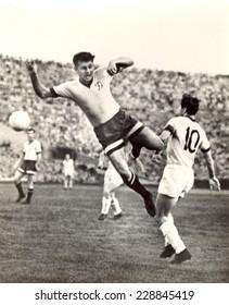 USSR - CIRCA 1960: Vintage photo shows soccer team, 1960