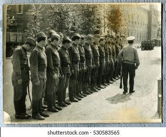 Ussr - CIRCA 1960s: An antique Black & White photo show Soldiers and officers