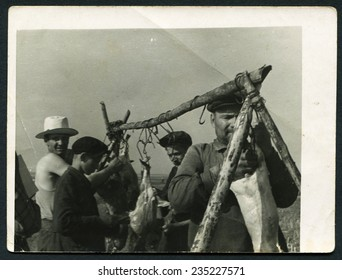 USSR - CIRCA 1960s: An antique photo men butchered pork meat