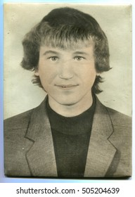 USSR - CIRCA 1960s: An antique photo shows portrait of a young man, circa 1960s