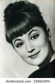 USSR - CIRCA 1960s: studio Portrait of a beautiful yung woman, circa 1960s