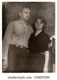 USSR - CIRCA 1960s: Vintage photo shows a young couple.
