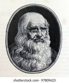 USSR - CIRCA 1962: Illustration from the Children Encyclopedia, published in the USSR shows Italian scientist Leonardo da Vinci, circa 1962