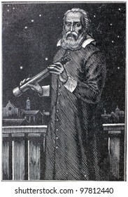 USSR - CIRCA 1962: Illustration from the Children Encyclopedia, published in the USSR shows engraving Galileo Galilei, circa 1962