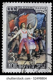 USSR - CIRCA 1962: A stamp printed in  USSR and shows fragment from ballet Flame of Paris, circa 1962.