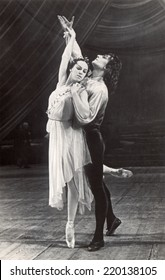 Ussr - CIRCA 1962s: An antique Black & White photo of ballet dancers.