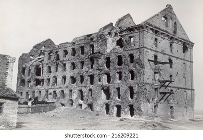 USSR - CIRCA 1963: An antique photo of mill, ruined during the World War 2, as a war monument in a center of Volgograd (former Stalingrad). Russia