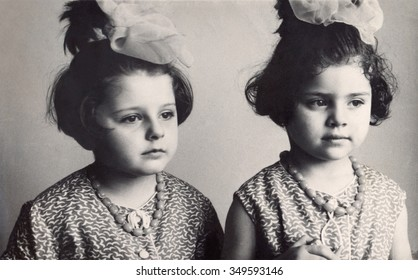 Ussr - CIRCA 1963s: An antique Black & White photo of Portrait of girls nice twins.