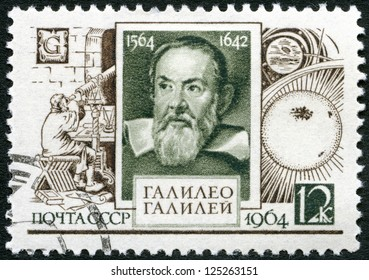 USSR - CIRCA 1964: A stamp printed in USSR shows Galileo Galilei (1564-1642), 400th birth anniversary, circa 1964