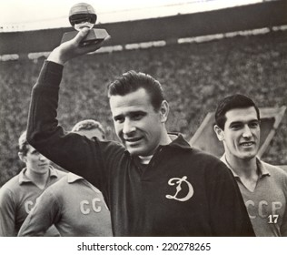 USSR - CIRCA 1964: Vintage photo shows soccer team, Photo Lev Yashin's with Golden Ball, 1964